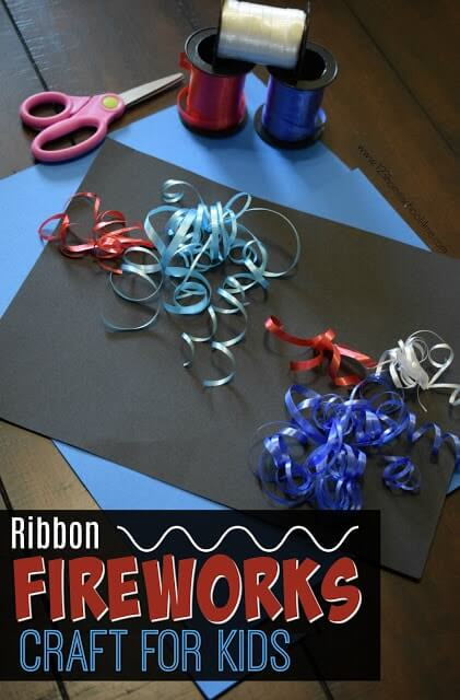 Curling Ribbon Fireworks Craft for Kids - this is such a fun, creative, and unique fourth of july craft for kids perfect for independence day, or summer craft for a summer bucket list. This is perfect for kids of all ages and looks different every time. LOVE THIS! #fireworks #craftsforkids #summercrafts