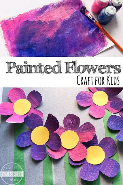 Today we are sharing a pretty and funflower craft preschool,pre-k, kindergarten, first grade, and 2nd graders too. This Spring craft for preschoolers is a fun process art with so many possibilities! This flower craft ideasis simple, yet has a beautiful result of colorful flowers that pop out from the page. Kids can paint as the please, and then use that painting to cut flower shapes from, and glue them onto a paper to make a gorgeous floral scene.