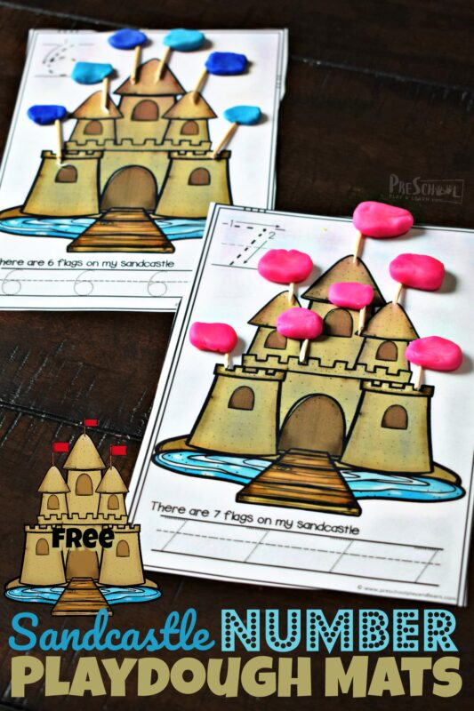 FREE Sandcastle Playdough mats for counting and tracing numbers for summer learning with preschoolers and kindergartners