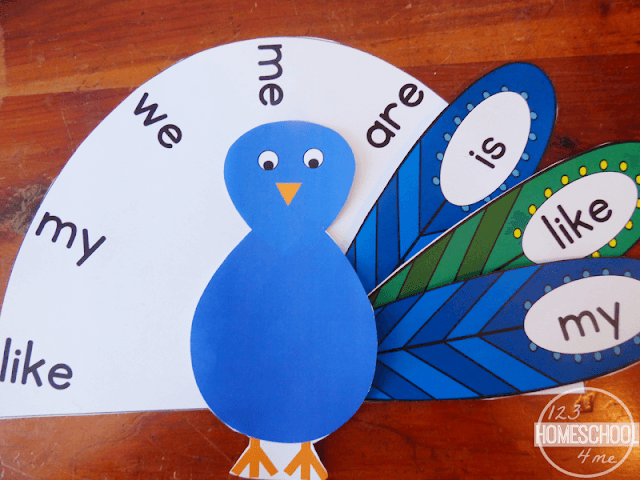 Kids will have fun working on early reading skills with this peacock free sight word