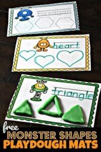 Super cute monster themed shape playdough mats for toddler, preschool, and kindergarten age kids