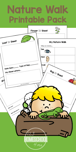 FREE Nature Walk Worksheets for Kids - these free printable pages are great for summer science with kids from toddler, preschool, kindergarten, first grade, 2nd grade, and 3rd grade kids. #naturewalk #summerscience