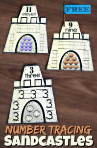 Super cute Number sandcastles help preschool and kindergarten age kids practice counting and tracing numbers this summer.