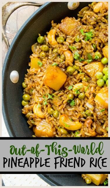 Pineapple Fried Rice - you are gong to love this out-of-this-world rice recipe! It is easy to make, super yummy, hearty, and full of healthy ingredients! This makes a great one dish lunch or side dish. #yummy #recipes #friedrice