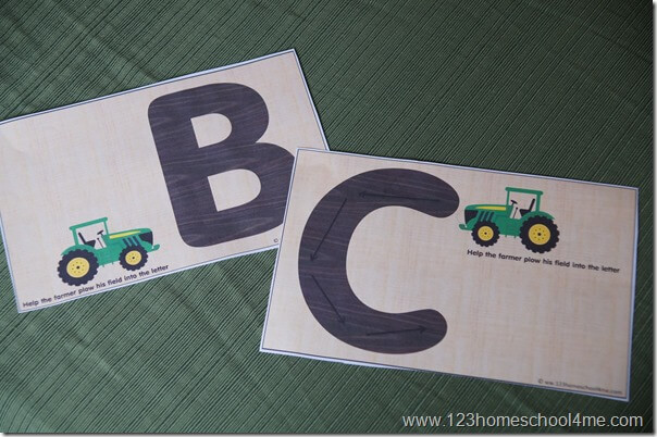 2 versions of Alphabet Tractor Books - with and without directional lines