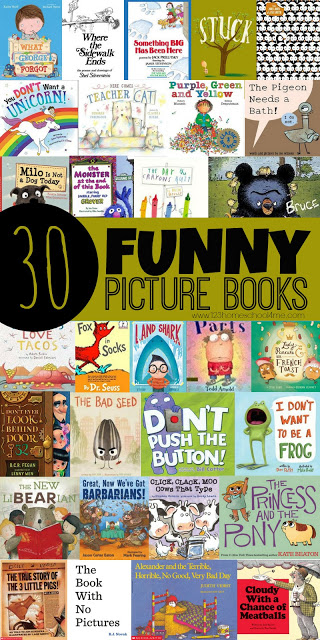30 Funny Picture Books - here are lot of great books kids will love to read because they are funny, silly, and will make them laugh. Great book list, recommended reading, or for summer reading for toddler, preschool, kindergarten, first grade, 2nd grade, 3rd grade, and 4th grade kids. #picturebooks #booksforkids #preschool