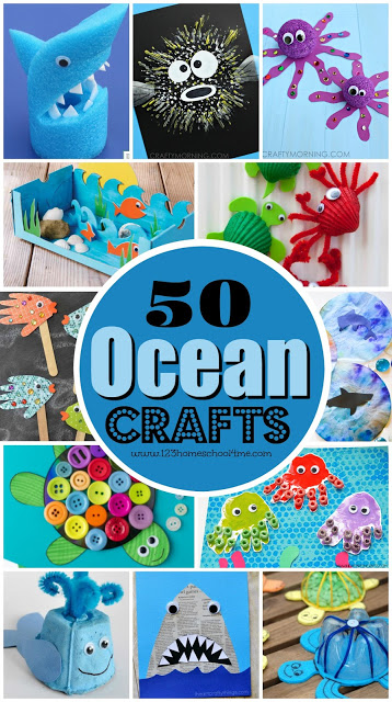 50 Ocean Crafts for Kids - so many creative, unique, and fun ideas for fish, sharks, octopus, turtles, wales, jellyfish, dioramas, and more! Perfect summer craft for kids: toddler, preschool, kindergarten, first grade, 2nd grade. Love these art projects!