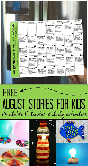 August Stories for Kids with free activity calendar