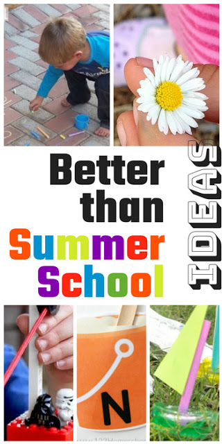 Ideas that are better than summer school to help kids learn throughout the summer as they practice alphabet letters, abcs, counting, addition, subtraction, summer science, summer stem, summer steam, and more.