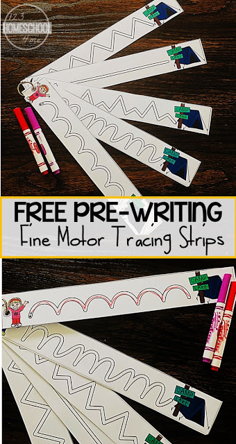 FREE Camping Tracing Strips for Fine Motor Skills - these free printable pre writing strips are perfect to help toddler, preschool, and kindergarten age kids strengthen their muscles so they are ready to write letters. These handwritting worksheest are perfect for summer learning or centers with their fun camping theme. #tracingstrips #prewriting #preschool