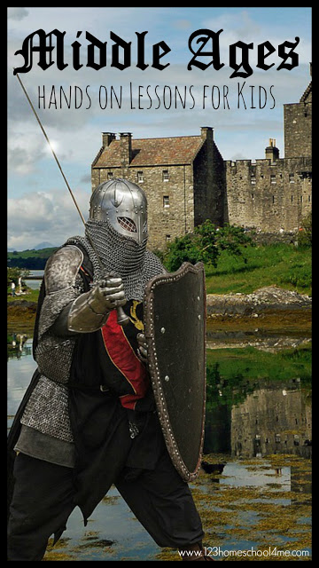 Middle Ages for Kids - hands on history lessons for kids. Such a fun way for preschool, kindergarten, first grade, 2nd grade, 3rd grade, 4th grade, 5th grade, 6th grade elementary age kids to learn about castles, knights, and more!