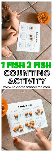 Make practicing counting FUN with one fish two fish activities that use goldfish crackers and a little Dr. Seuss theme inspiration. Thisone fish two fish counting game is a fun way for toddler, preschool, pre-k, and kindergarten age students to practice counting. We love turning practicng math skills into a fish counting game preschool. Simply download pdf file with fish counting activity preschool and you are ready to play and learn!