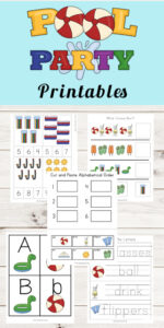 Pool Themed Worksheets for toddler, preschool, kindergarten, pre k, grade 1, grade 2