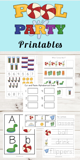 FREE Pool Party Printables - helps toddler, preschool, kindergarten, and first grade kids practice alphabet letters, counting, key vocabulary, abcs,size sequencing, what comes next, pool emergent reader, alphabetical order, addition, subtraction, math worksheets, and so much more with these free summer preschool worksheets. These are perfect for summer learning! #preschool #preschoolworskheets #summerworksheets