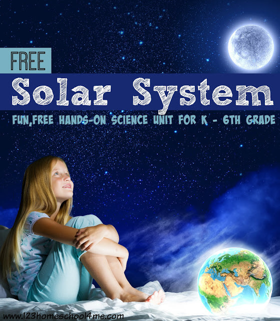 Solar System - Fun, free hands on science unit for K-6th grade elementary age kids! So many fun activities, free solar system worksheets, and more!