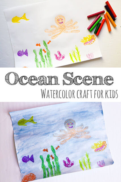 Watercolor and Crayon Ocean Craft - this is such a simple technique that is easy for toddler, preschool, kindergarten, first grade, 2nd grade, 3rd grade, 4th grade, adn 5th grade kids to try. It is such a fun under the sea craft perfect for summer. #craftsforkids #ocean #preschool