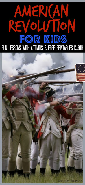 American Revolution for Kids - fun, hands on history unit for kindergarten - 6th grade students! Includes 4 week lesson plans with creative, fun educational activities to make history come alive and FREE worksheets, lapbook, and timeline of the Revolutionary War #revolutionarywar #americanrevolution #homeschooling