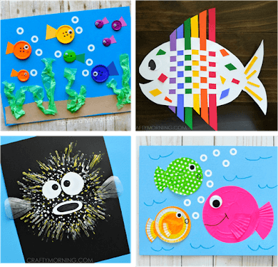 creative-fish-crafts-for-kids-button-rainbow-fish-cupcake-liners-puffer-fish