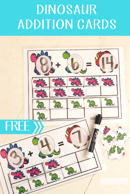 FREE Dinosaur Addition with Ten Frame - preschool and kindergarten age kids will have fun practicing adding with this fun, hands on math activity.