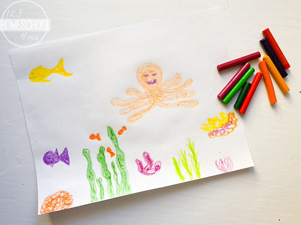 draw-picture-of-fish-seaweed-coral-octopus-shark-with-crayons