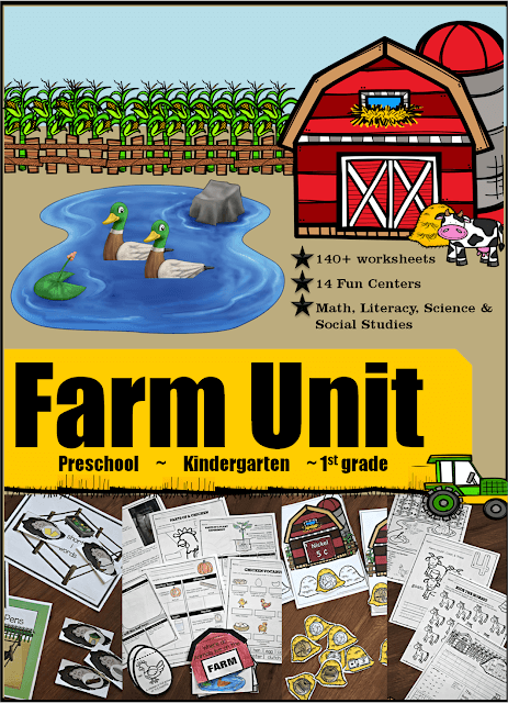 HUGE Farm Unit - over 200 printable math and literacy worksheets, fun hands-on activities, science experiments, life cycles, sequencing, emergent readers, social studies, seasons, and so much more perfect for preschool, kindergarten, and first grade theme! COVERS EVERYTHING!!! #farmunit #preschool#kindergarten #firstgrade