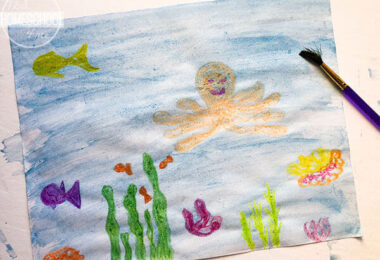 Watercolor and Crayon Ocean Craft