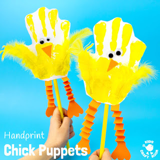 farm craft - hand chick puppets