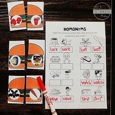 Homonyms Hamburgers | 123 Homeschool 4 Me