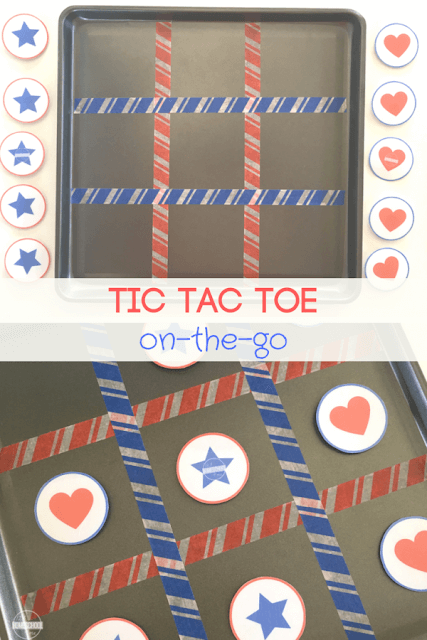TIC-TAC-TOE On the Go! This is such a fun magnetic road trip games that will be fun for kids of all ages from preschool, kindergarten, first grade, 2nd grade, 3rd grade, 4th grade, and 5th grade kids. This is such an easy, fun kids activities perfect for 4th of July, Independence Day, memorial Day, summer activity for bucket list, or airplane game