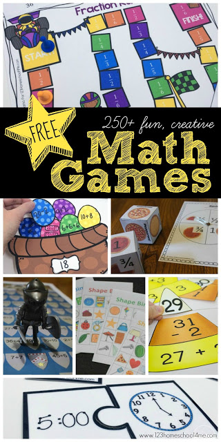 250- FREE Math Games - TONS of fun, creative, free printable math activities for preschool, kindergarten, first grade, 2nd grade, 3rd grade, 4th grade, 5th grade, and 6th grade kids to practice counting, addition, subtraction, multiplication, division, counting money, fractions, telling time, shapes, and so much more!! #mathgames #freemath #mathactivities