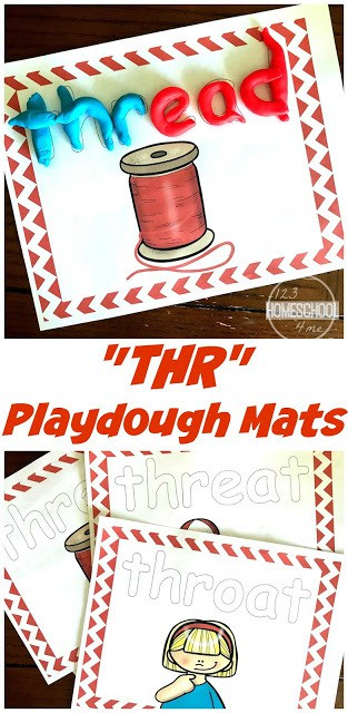 This fun phonics activity is a great way to help first grade and 2nd grade students learn words that start with thr with a fun, hands-on phonics printable. This thr activities is such a fun way way for children to learn how to read and spell consonant blends.  Make learning about trigraphs and thr words fun with these THR Playdough Mats.