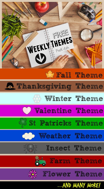 FREE Weekly Themes - lots of themes with tons of crafts, activities, and educational activities for preschool, prek, kindergarten, and elementary age kids and their families to learn math, language arts, science, history, art, and more while learning the weekly theme. LOTS OF CHOICES!!