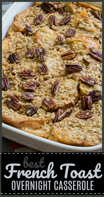 Overnight French Toast Casserole - this breakfast recipe is my go to for any company, holiday, or special occasion. It is not only super easy to throw together ahead of time, but tastes AMAZING with the toffee topping! YUMMY! #recipes #breakfast #yummy