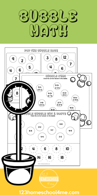 FREE Bubble Kindergarten Math Worksheets - these free printable addition cut and paste worksheets make ti fun for kids to practice with a fun math activity. #mathworksheets #addition #mathl