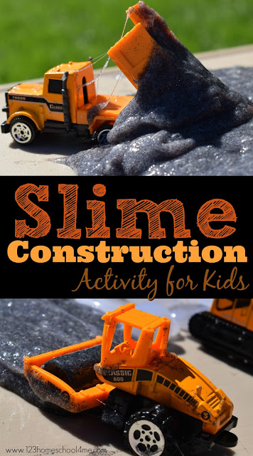Construction Slime Recipe and clever kids activity - this is such a fun summer activity for toddler, preschool, kindergarten perfect for adding to your summer bucket list or learning about road construction or construction vehicles. This is the best slime recipe - it only uses 2 ingredients and it stretches beautifully without getting too sticky. This is so much FUN! #slime #slimerecipes #kidsactivities