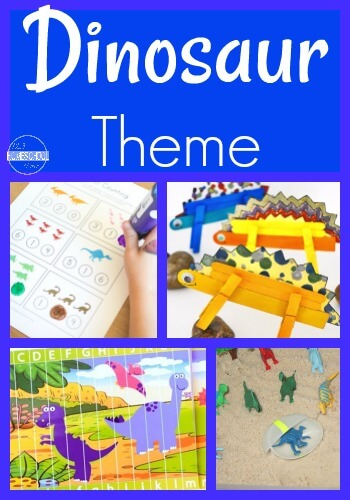 DINOSAUR Theme - This dinosaur unit study is filled with fun, hands on educational activities for preschool, kindergarten, first grade, 2nd grade, and elementary age kids to make learning math, literacy, science, social studies, and art FUN! #preschool #dinosaurtheme #kindergarten