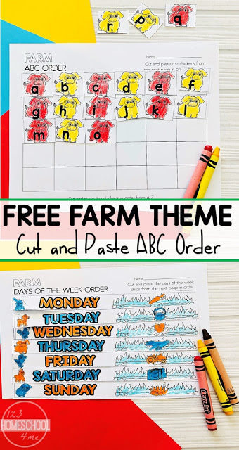 Looking for a fun way to get kids to practice ABC order, order months and days of the week? These fun cut and paste worksheets are just what you've been looking for. Download pdf file with ABC Order Cut and Paste with a cute farm themed activity sheet. Theseabc order worksheets are the perfect way to review or practice alphabetical order with kindergarten, first grade, and 2nd grade students.
