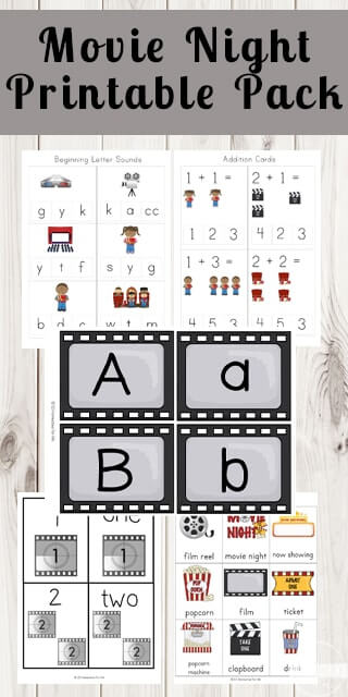 FREE Movie Night Worksheets for Kids - these free printable toddler, preschool, kindergarten, and first grade worksheets help kids practice alphabet letters, counting, syllables, vocabulary and more with an fun move theme. #preschool #kindergarten #freeprintables