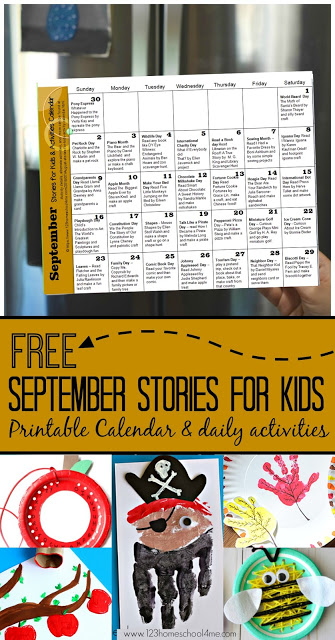 FREE September Stories for Kids & Activity Calendar - this free printable book list is perfect for families to celebrate special days, holidays, monthly themes with great book recommendations and clever kids activities with families with toddler, preschool, kindergarten, first grade, 2nd grade, 3rd grade, and 4th grade kids #storiesforkids #september #kidsactivities