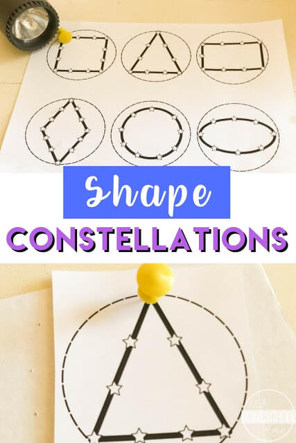 Shapes Flashlight Constellations - this is such a fun, clever, and free printable activity to help kids create their own shape constellations using a flashlight. This is great for helping children learn to identify shapes. #shapes #mathactivity #constellations
