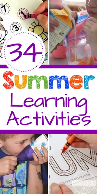 34 Summer Learning Activities - so many fun, clever summer learning ideas for preschool, kindergarten, first grade, 2nd grade, 3rd grade, and elementary age kids including math, literacy, science experiments, STEM, and so much more #summerlearning #summerbucketlist #learning #kidsactivities #preschool #kindergarten #elementary