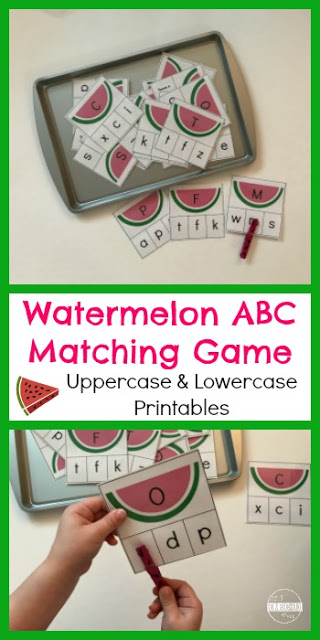 image about Alphabet Matching Game Printable identified as Watermelon Letter Matching Match for Youngsters 123 Homeschool 4 Me