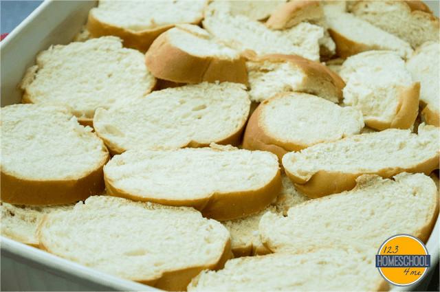 arrange slices of bread in 9x13 casserole dish