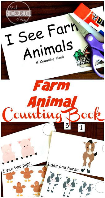 FREE Counting Farm Animals Emergent Reader - this is such a fun, free printable reader to help toddler, preschool, and kindergarten practice counting with a fun farm theme. #farmtheme #counting #preschool