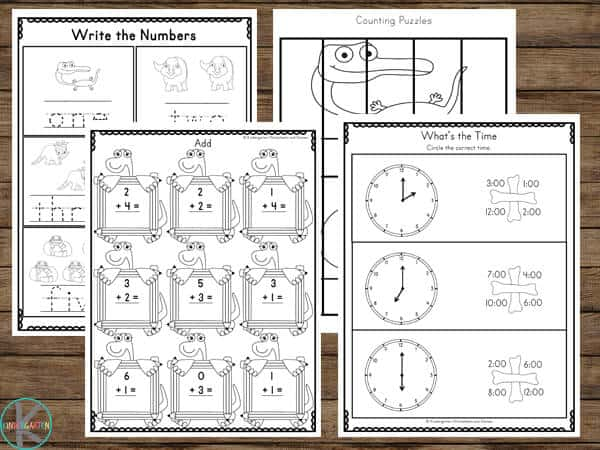 HUGE Pack of free printable Dinosaur math Worksheets