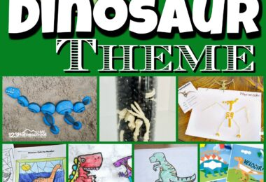 Learn all about dinosaurs with a weeks worth of  dinosaur alphabet, dinosaur math, dinosaur science, dinosaur crafts, dinosaur activities, dinosaur books and so much more in this dinosaur theme. All you need to do is pick your favorite books, a few educational activities, and have a marvelous week learning with your kids! These themed activities are perfect for preschool, pre-k, kindergarten, first grade, 2nd grade, 3rd grade, and 4th graders.