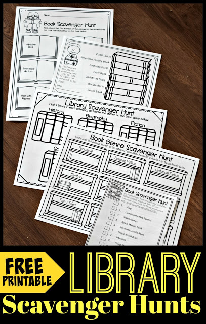 FREE Printable Library Scavenger Hunts - help kids learn about and explore their library with these free printable worksheets. Lean about book genre, authors, elements of the library, and the dewey decimal system. Perfect for kindergarten, first grade, 2nd grade, 3rd grade, 4th grade, 5th grade, and 6th grade kids, families, and homeschoolers
