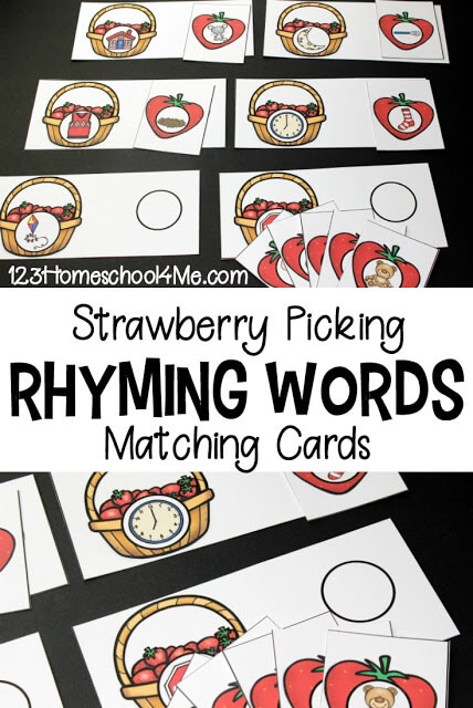 This hands-on rhyming activity is perfect for older preschool, pre-k, kindergarten, and first graders who are working on rhymes and are learning to make predictions when they read. Thiskindergarten rhyming game is quick and easy to prep and makes practicing rhyming FUN! Simply download pdf file with strawberry printable and you are ready to play and learn with this cuterhyming activity.