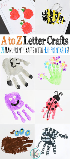 A to Z Alphabet Crafts - 26 super cute, step-by-step, handprint crafts for toddler, preschool, kindergarten, and first grade kids. Each also includes FREE alphabet worksheets for the hand art and to practice forming uppercase and lowercase letters. Perfect for letter of the week or to make a cute alphabet keepsake book. #letteroftheweek #alphabet #alphabetcrafts #handart #handprint #kidscrafts #kidsactivities #preschool #kindergarten