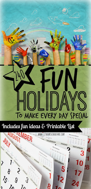 Fun Holidays - lots of unique and fun National Days to make every day special! Includes free printable list, creative ideas for celebration longs of special days for families with toddler, preschool, kindergarten, preschool, prek, kindergarten, first grade, 2nd grade, 3rd grade, 4th grade, and 5th grade kids.